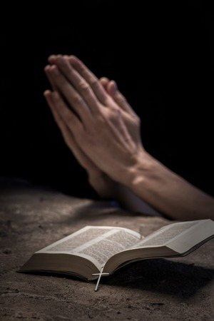 learning pray: Close up of hands of young woman praying near the Bible. She is clapping her arms together