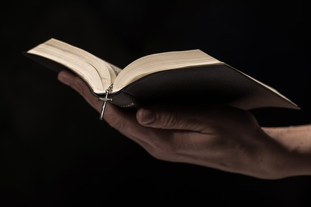 testaments: Close up of arms of young woman reading a bible. She is holding an open book. Isolated on black background