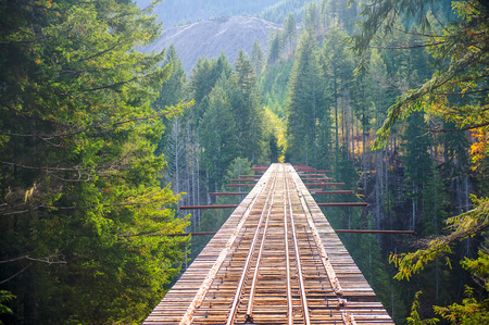 Beautiful long unfinished railway bridge in Washington. Gorgeous mountains and trees on background Stock Photo