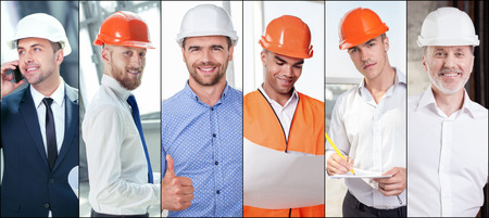 mixed age: Collage of diverse multi-ethnic and mixed age architects standing and smiling with happiness Stock Photo