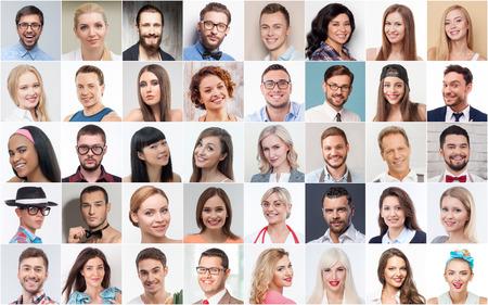 face: Collage de différents jeunes hommes et femmes avec des métiers variés souriant et regardant la caméra avec bonheur