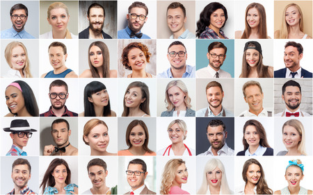 casual caucasian: Collage of different young men and women with varied professions smiling and looking at camera with happiness