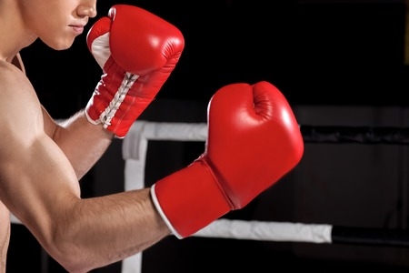 semi dress: Close up of arms of young boxer fighting with his rival. He is standing and raising fists in gloves. Copy space in right side