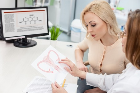 Skillful gynecologist is giving consultation to her patient. She is showing a picture of uterus to her with seriousness. The young woman is looking at paper with concentration Stock Photo - 55379248