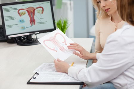 Experienced female gynecologist is explaining to a woman the concepts of her disease. She is holding and showing a picture of uterus. Young lady is looking at it seriously Stock Photo