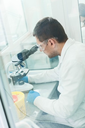 technologist: Professional young researcher is analyzing sample in laboratory. He is sitting at desk. Man is looking into the microscope seriously Stock Photo