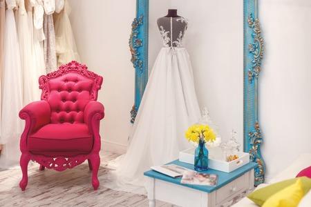 bridal salon: Wide choice of bridal dresses in showroom at salon