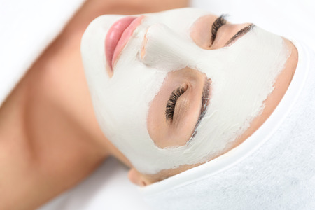 Close up of relaxed young woman sleeping with facial mask Stock Photo