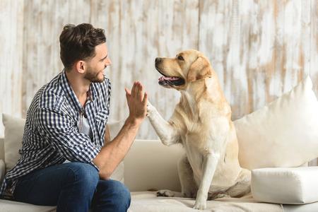 Hoge vijf mens, hond die een poot geeft aan een knappe man in het huis