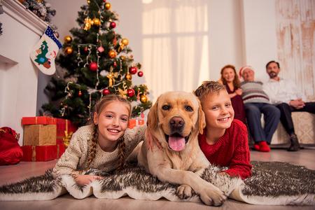 Gelukkige kinderen liggen op de vloer in de buurt van de kerstboom en het omhelzen van de hond. Ze zijn op zoek naar de camera en glimlachen. De ouders zijn op zoek naar hen met trots