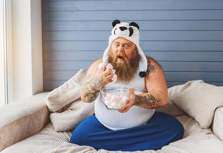 greedy: Greedy male heavy eater with sweet food