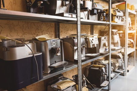 coffee machines: Various coffee machines at shelves