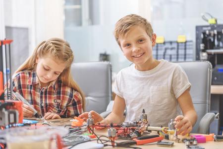 Happy smiling children in studio