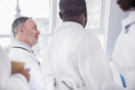 auscultoscope: Outgoing therapeutic listening lecture in clinic Stock Photo