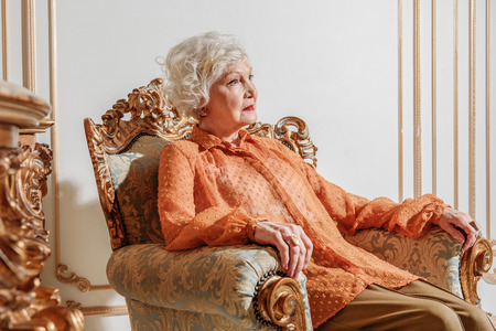 one mature woman only: Sad old rich lady is completely alone