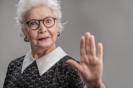 Stylish adult female wearing glasses