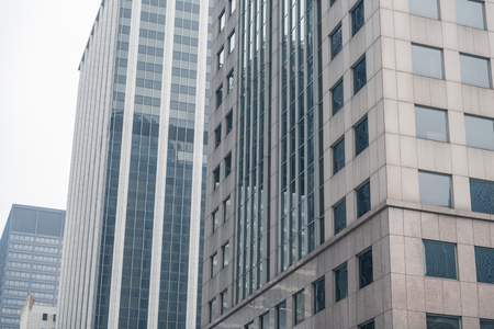 Modern multi-storey buildings lining up in queue