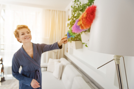 houseclean: Joyful woman cleaning room with broom
