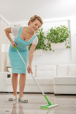 microfiber: Happy smiling housewife cleaning room Stock Photo