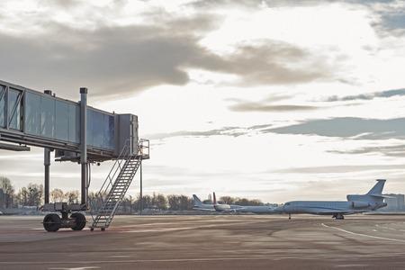 Passenger aircrafts locating at take-off runway