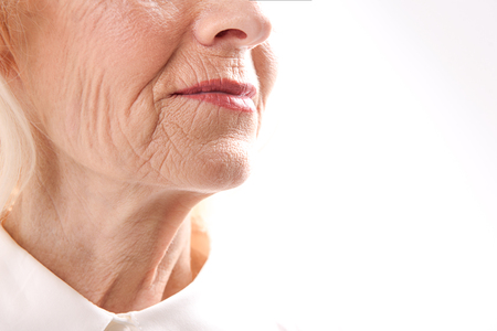 Well groomed old female person Stock Photo