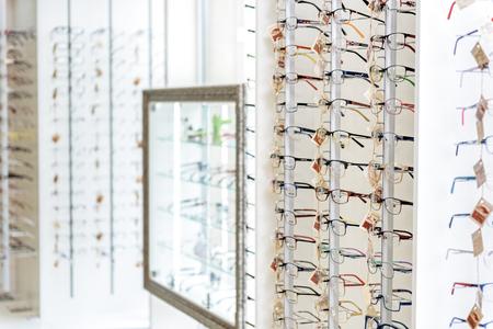 Different types of eyewear on shelves