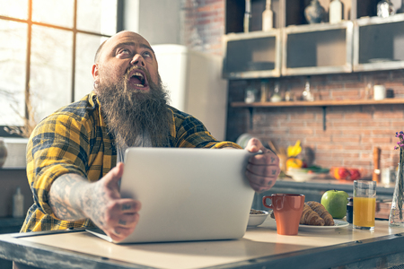 fatso: Angry male fatso is starving Stock Photo