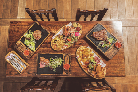 Delicious appetizing food served in pub