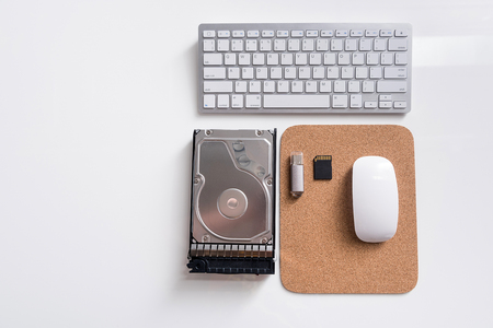 Different electronic devices are on workplace Stock Photo