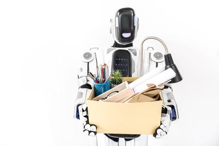 オフィス カートンを維持する現代のロボット 写真素材