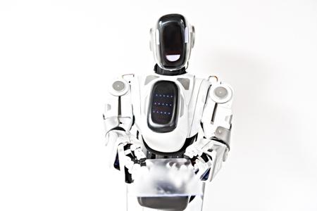 ロボットは彼のセンサーの画面を表示します。 写真素材