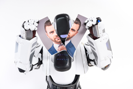 Machine is ripping picture of guy Stock Photo