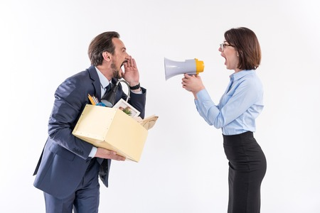 Angry employees are disputing lead Stock Photo