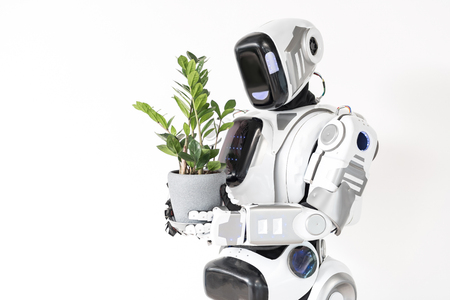 Modern cyborg is growing houseplant
