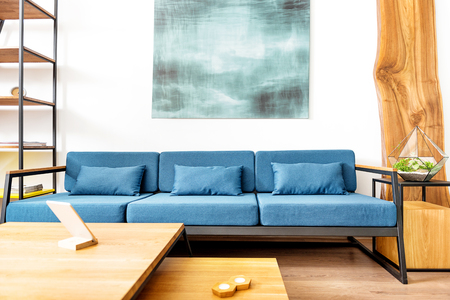 Lounge with image above and gadget in apartment