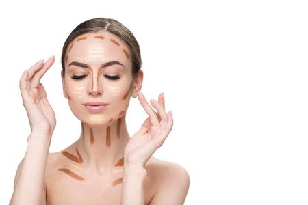 Sensual woman creating facial features Stock Photo