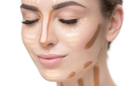 applied: Female face with applied foundations Stock Photo