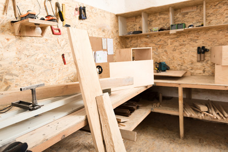 Woodworking area with professional instruments Reklamní fotografie