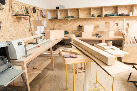 Woodworking tools are in workshop