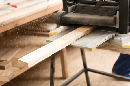 Woodworking workshop with specialised tool Stock Photo