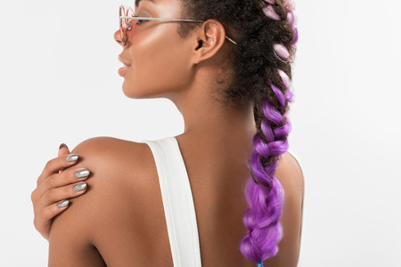 Fashionable new colored women hairstyle Stock Photo