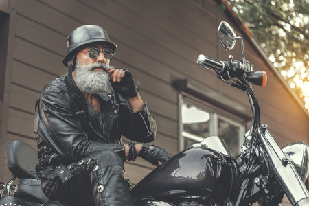 Thoughtful old man going to have ride