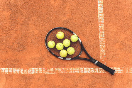 Few round objects on tennis racquet