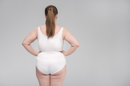 Fat woman showing her body