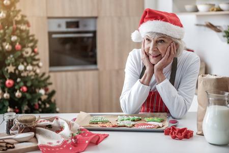 행복 한 성숙한 아가씨 휴가 쿠키와 손자를 기다리고