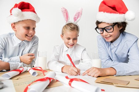 Cheerful kids are feeling happiness Stock Photo - 88882833