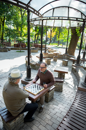 chequer: Joyful senior men playing checkers outdoor Stock Photo