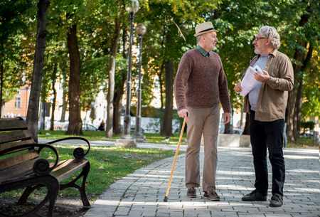 Cheerful mature friends talking in park