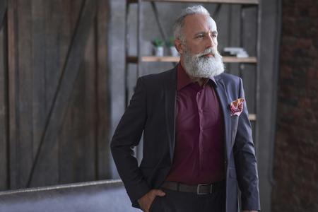 Portrait of serious elegant bearded retire locating in room. Profession concept Stok Fotoğraf