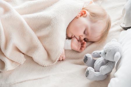 Infância tranquilo sonhando de manhã no sofá aconchegante envolto em cobertura macia. Urso de pelúcia está na cama